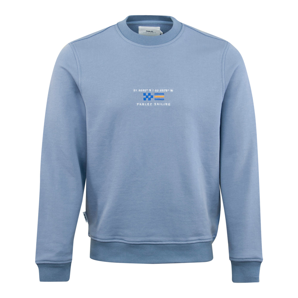 Parlez Berwick Embroided Sailing Crewneck Blue, Mens Sweatshirt available at Roulette Clothing