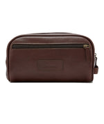 Barbour Leather Wash Bag Brown