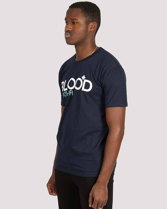 Blood Brother Trademark Printed T-Shirt Navy - Roulette Clothing