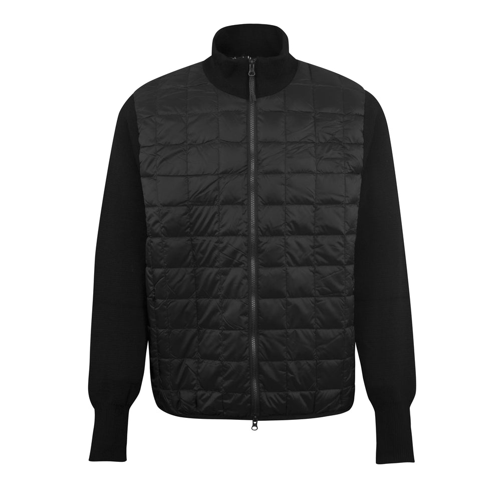 TAION Hi Neck Zip Knit Sleeve Cardigan Black, Mens Knitwear available at Roulette Clothing