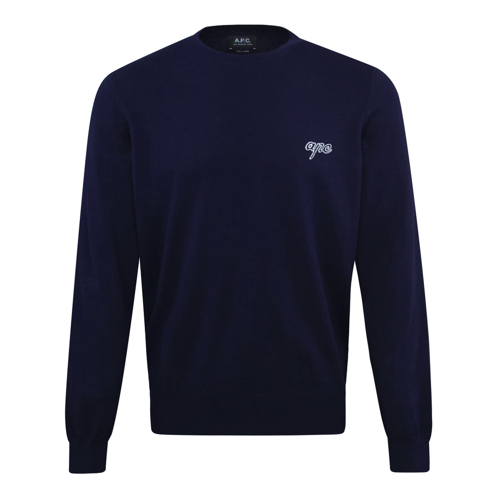 APC Otis Knitted Crewneck Navy, Mens Knitwear available at Roulette Clothing