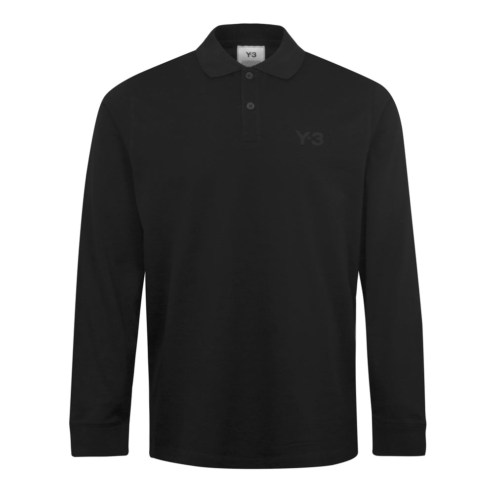 adidas Y-3 Classic Chest Logo Pique LS Polo Shirt Black - Roulette Clothing