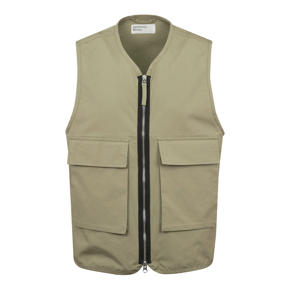 Load image into Gallery viewer, Universal Works Hangout Cotton Utility Vest Sand, Mens Utility Vest available at Roulette Clothing