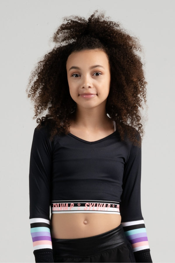 Trackside Cropped Long Sleeve Top