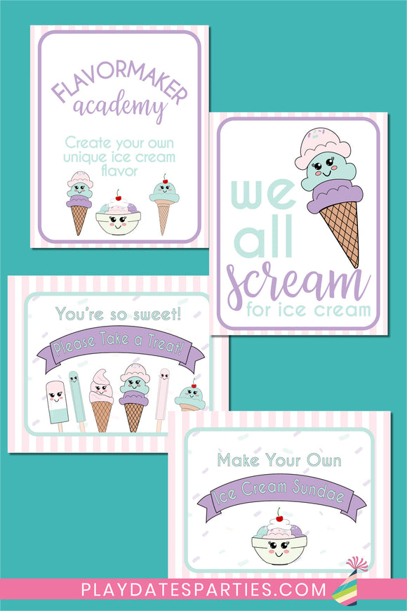 Ice Cream Party Signs