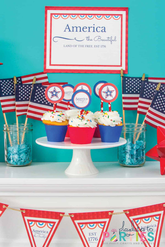 America the Beautiful July 4th Party Printables (Mini Package)