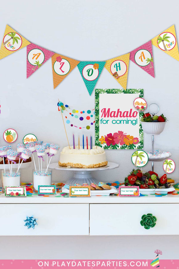 Luau Party Printables (Lite Package with Triangle Banners)