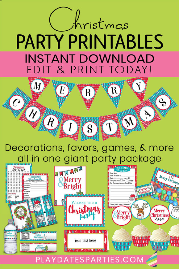 Merry & Bright Christmas Party Printables (Giant Bundle!)
