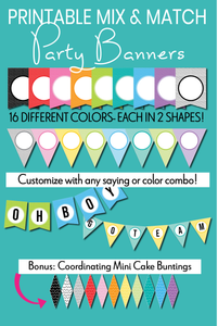 Mix and Match Printable Party Banners (60+ pages - Editable PDF - Instant Download!)