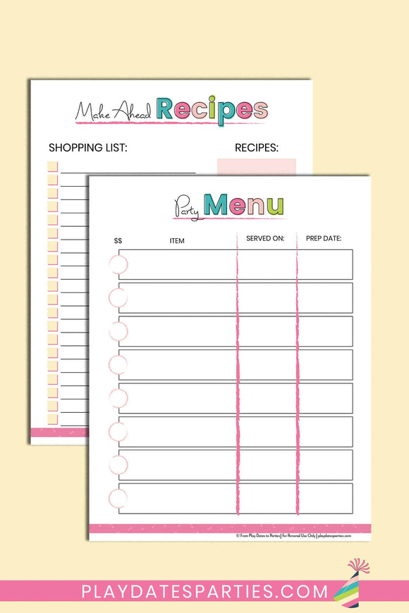 Party Menu Planner and Shopping List