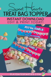 Sweet Hearts Valentine's Day Treat Bag Toppers