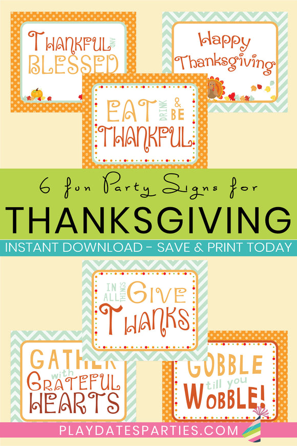 Thanksgiving Party Signs