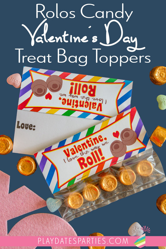 Rolos Candy Valentine's Day Treat Bag Toppers