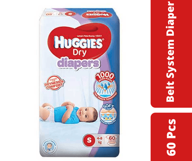 Maya diapers Huggies Dry Belt Diaper S (4-8 KG)  60 Pcs