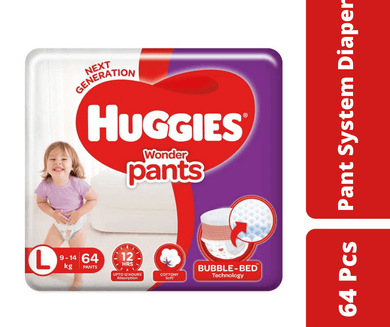 Maya diapers Huggies Wonder Pants Bubble Bed L (9-14 kg) 64 Pcs