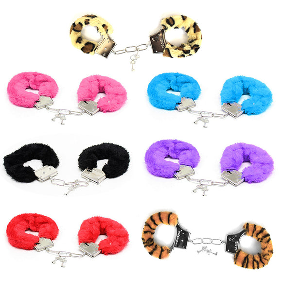 SM Bondage Bundle Handcuffs Metal Plush Erotic Sexy BDSM Game  Brecelet Ankle Cuffs Slave Fetish Role Playing Sex Toy For Couple