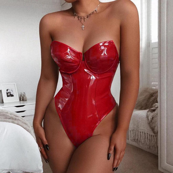 Hodisytian Women Sexy Bodysuits Lingerie Latex Faux Leather Playsuits Fetish Bodycon Costume Backless Girl Fitness Clubwear
