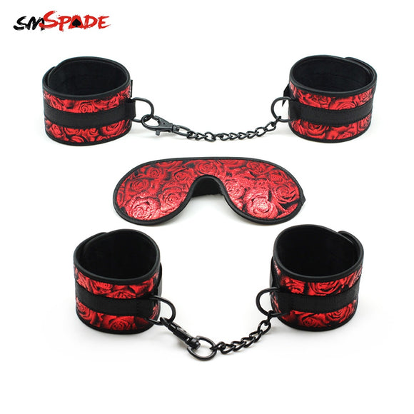 Smspade Bondage Adult Sex Toys Handcuffs Ankle Cuffs Blindfold Sex Restraints Kit For Beginners Bedroom Restraints For Couples