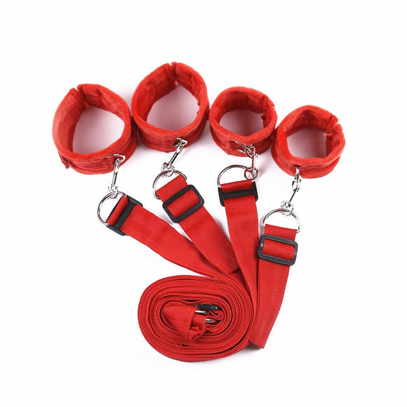 under the bed restraints system ankle wrist cuffs fetish bedroom play BDSM bondage gear for couples nylon red QINGHUO01