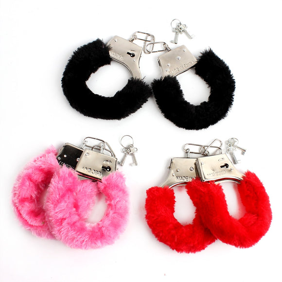 1 Piece Furry Soft Metal Handcuffs Chastity Night Party SM Bondage Sex Toys for Couple Handcuffs Role-playing  sex game-25