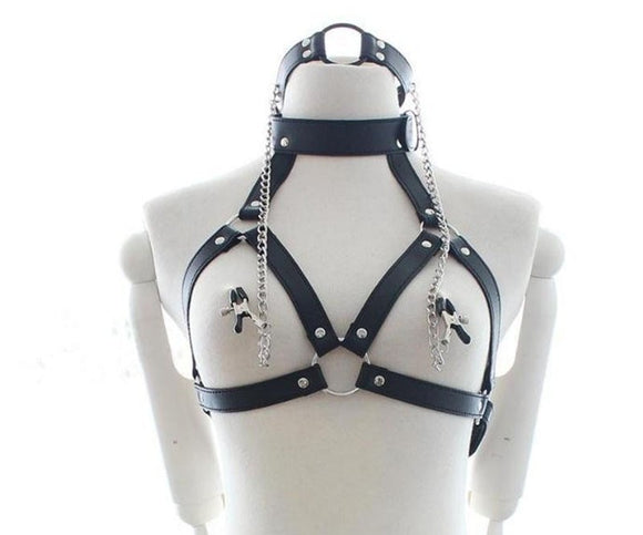 Leather Cupless Bra Restraint Fetish Bondage Women's Mouth Ring Gag Slave Body harness Collar, Adult Cosplay Sex Toys for Couple