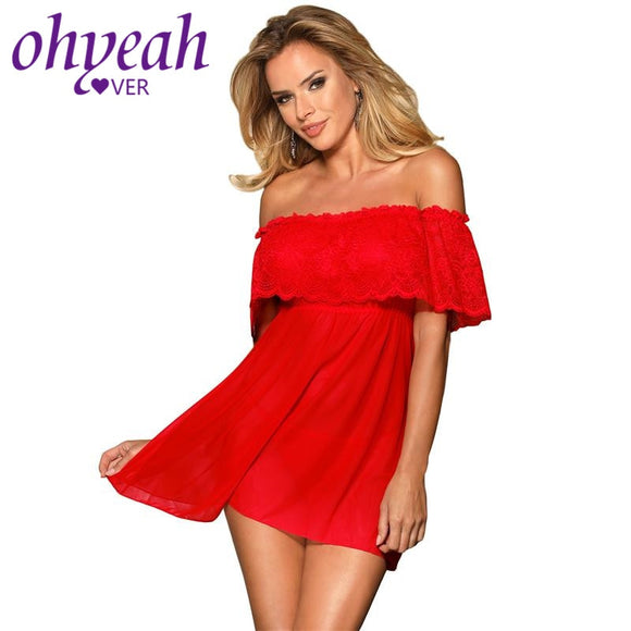 Ohyeahlover Lace Babydoll Hot Erotic Clothes For Women Transparent Lingerie Sexy Plus Size Slash Collar Women Nightwear RM80572