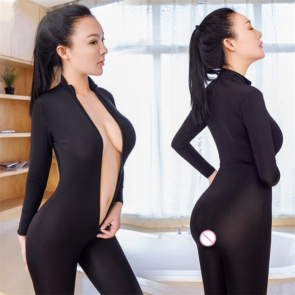 Porn Sex Underwear Women Erotic Lingerie Open Crotch Transparent Black Teddy Babydoll Double Zipper Long Sleeves Sexy Lingerie