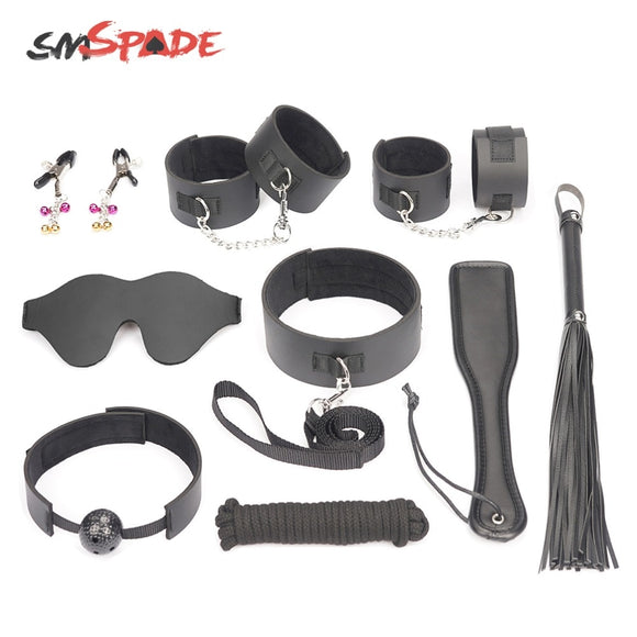 SMSPADE Black 9Pcs/Set Blindfold,Mouth Gag,Collar,Handcuffs & Ankle Cuffs,Whip,Paddle,Nipples,Rope BDSM Games Adult Sex Toys Kit