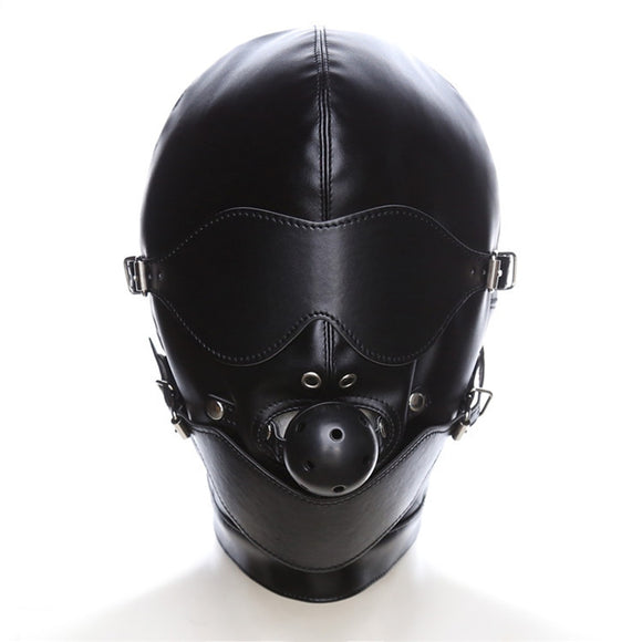 Couple Sex Mask Fetish Leather Mouth Eye Slave Hood Ball Gag Erotic Product Toy Bondage Sexy Black Men Women Sex Accessories New
