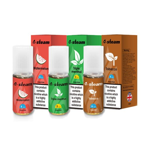 A-Steam Fruit Flavours 18MG 10 x 10ML (50VG/50PG)