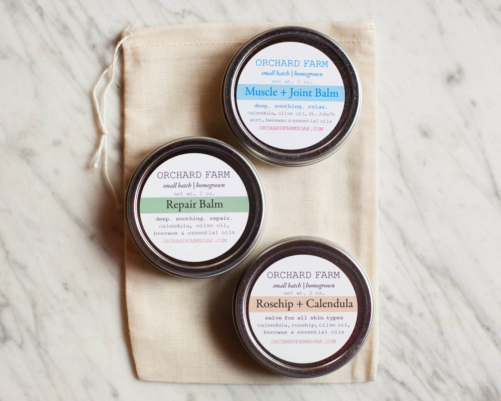 Trio Salve Kit//Natural Salve Skin Care//Orchard Farm Salve