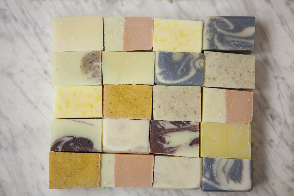 Soap Sampler Bag// Nine Sample Soaps// Natural Guest Bars