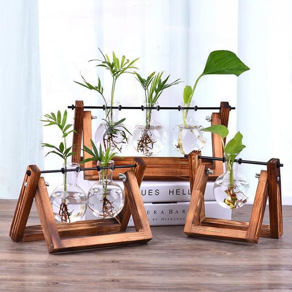 wooden hydroponic plant stand