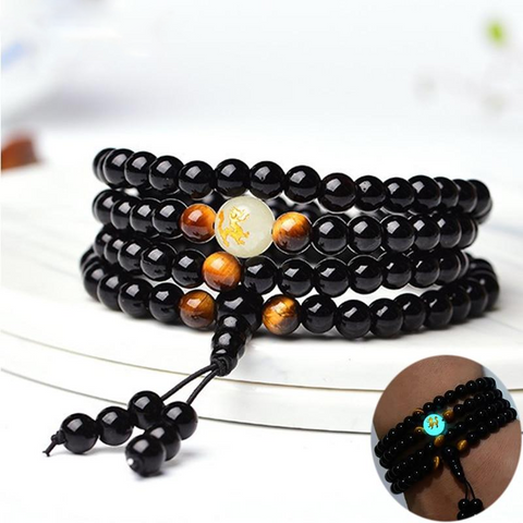 Image of Onyx & Tiger's Eye Mala Bracelet with Luminous Dragon Bead