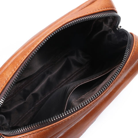 Leather Messenger Bag opened