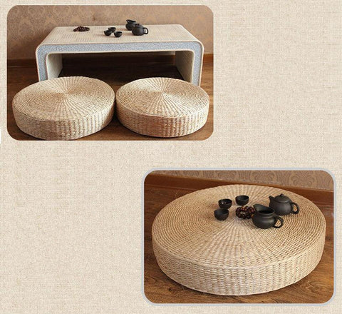 Image of Natural Straw Round Pouf