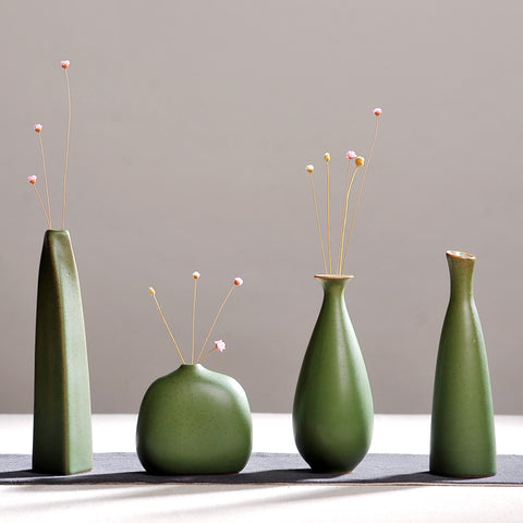 Image of Olive Green Handmade Ceramic Vases