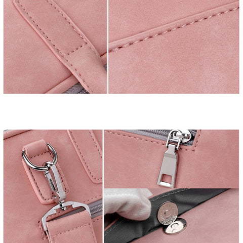 Faux Leather Laptop Bag For Women