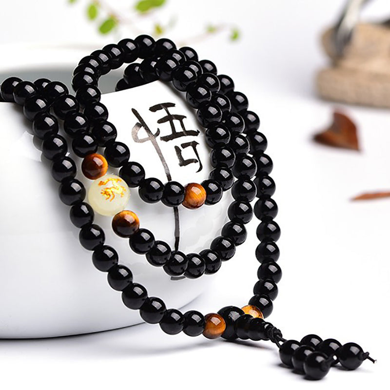 Onyx & Tiger's Eye Mala Bracelet with Luminous Dragon Bead