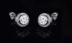 Halo Stud Earrings with Swarovski Element Crystals