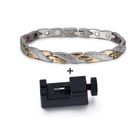 Image of magnetic bracelet with adjusting tool.