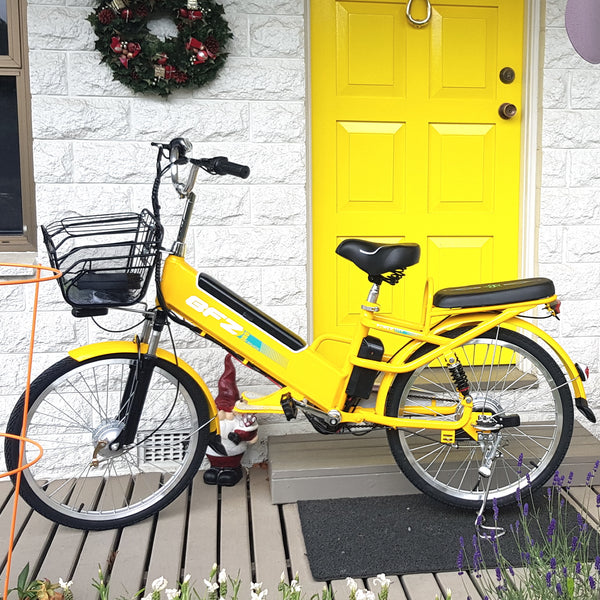 yellow step through e bike