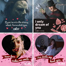 Load image into Gallery viewer, 70s horror valentines, 80s horror valentines; halloween, a nightmare on elm street, texas chainsaw massacre, the exorcist valentine