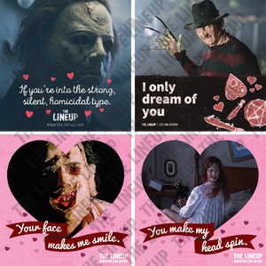 70s horror valentines, 80s horror valentines; halloween, a nightmare on elm street, texas chainsaw massacre, the exorcist valentine