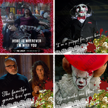 Load image into Gallery viewer, modern horror valentines; ma, saw, it, get out valentines