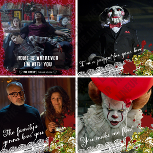 modern horror valentines; ma, saw, it, get out valentines
