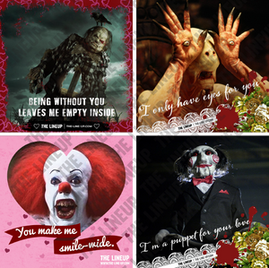 horror monster valentines; scary stories to tell in the dark, pan's labyrinth, it, saw valentines