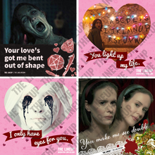 Load image into Gallery viewer, television horror valentines; the haunting of hill house, stranger things, american horror story valentines