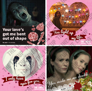 television horror valentines; the haunting of hill house, stranger things, american horror story valentines