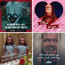 Load image into Gallery viewer, stephen king valentines; it, carrie, the shining valentines